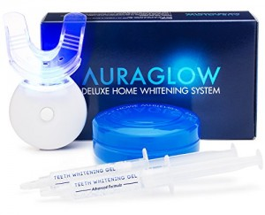 This is how an over-the-counter teeth whitening kit with bleach by trusted brand AURORAGLOW looks like
